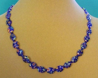 "Cobalt Blue Glass Milliflori Necklace - 18"" - N348,349"