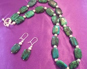 Stunning Malachite and Silver Earring and Necklace Set