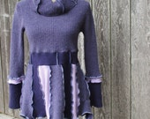 Cashmere Sweater - Purple Tunic - One of a  Kind - Recycled Clothing - Ecofriendly - Art to Wear - by ThankfulRose - Boho - Hippie - Hippy