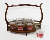Libbey Red and White Checked Glasses in Wood Carrier, Red Gingham Cocktail Set in Wood Holder, Libby Juice Glasses in Server