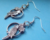 Tibetan Silver Parrot Perch Budgie Cute Bird Earrings
