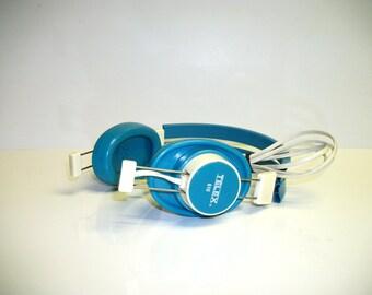 "Vintage Telex 610 Mono Headphone 1/4"" Plug Aqua Blue"