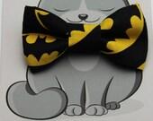Cat Bowtie, Dog Bow Tie, Collar Accessory, Cat Costume, Pet Bowtie, Handmade in Canada, Black, Yellow, Batman, Bat Man, Stocking Stuffer