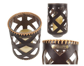 Leather Hurricane Candle Holder