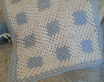 Crochet blue and white baby boy blanket