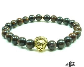 "Men's ""Cecil"" Gold Lion Bronzite Beaded Bracelet"