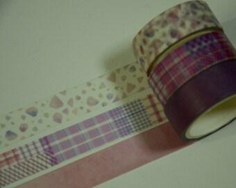 3 Rolls Japanese Washi Masking Paper Tape -Purple Collection