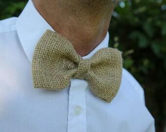 Mens burlap clip on bow tie   rustic bow tie   clip on bow tie   gifts for him   gifts for men   grooms accessories