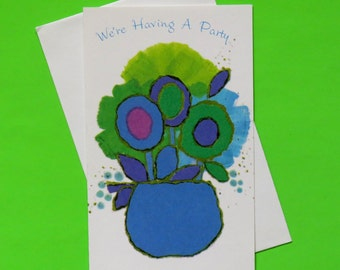 Vintage American Greetings Laurel PARTY Invitations - New Old Stock - FLOWER POWER - 1970s
