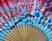 VINTAGE ASIAN FAN ~ 1960's Hand Painted Decorative Japanese and Functional Fan ~ Cherry Blossoms ~ Asian Art Decor ~ Hand Painted Fan