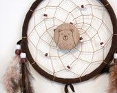 Sweet Dreams Bear or Fox Dreamcatcher, brown bear dreamcatcher, cute animal kids wall hanging with wood pyrography brooch (hand burned).