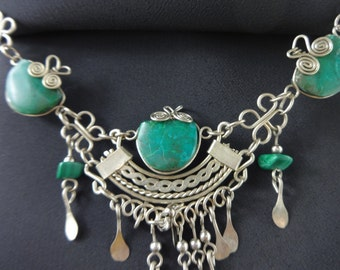 Malachite Necklace with Alpaca Silver Wire Work 1970s Statement Necklace w silver dangle details Each stone is wrapped w wire - from Peru