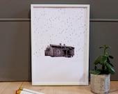 Cabin in the rain A4 Print