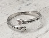 True Love Waits Sterling Silver Double Heart Wrap Midi Adjustable Purity Ring by ShesSoWitte