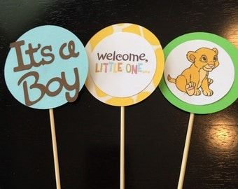 1 DOZEN Baby Lion King Cupcake Toppers. Baby Shower. Its a Boy