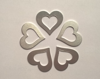 Heart Washer Shaped Stamping Blank 1.25 or 1 1/4 inch, 14g Aluminum Stamping Blanks Supplies, Hand Stamping Jewelry Supplies