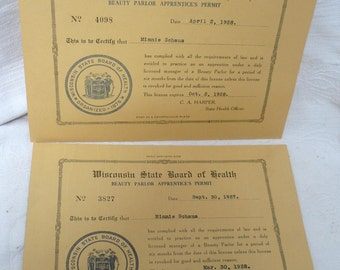 1927 & 1928 Beauty Parlor Apprentice Permits with Envelope