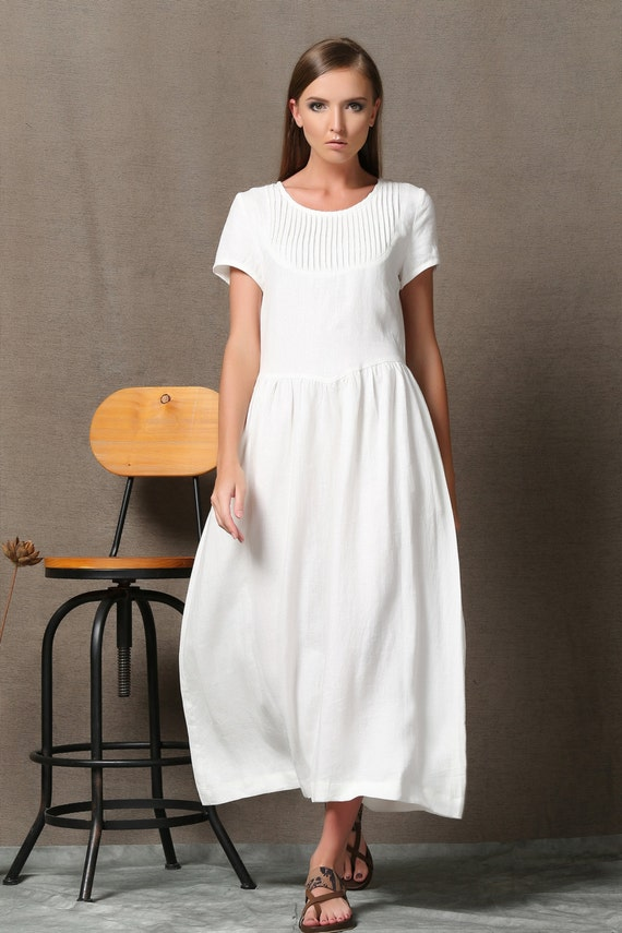 White linen dress semi fitted summer fashion casual for Fitted white dress shirt womens