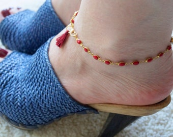 red burgundy tassel anklet bracelet, gold plated, sexy summer beach jewelry, hippie boho jewelry, gift idea, mother daughter jewelry