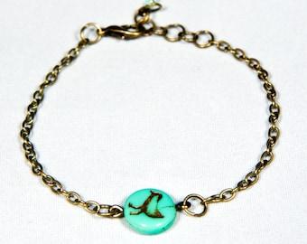 bird bracelet, bird charm bracelet ,bird jewelry, charm jewelry, turquoise bird bracelet, handmade bracelet, bird fashion