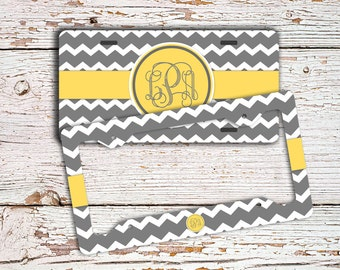 Unique gift for friends, Chevron monogram license plate or frame, Monogram chevron car tag Bicycle plate Bike accessories Yellow gray (9907)