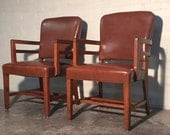 Pair Mid-Century Modern Office / Lounge Chairs - Nailhead Back - Great Mad Men / Eames Era Decor * SHIPPING NOT INCLUDED *