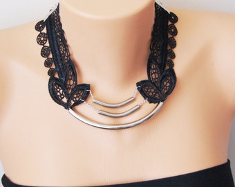 Black Necklace/ Lace Necklace/ Silver Bar Necklace/ Locked collar Gothic / Arc Necklace/ AFlower Necklace/ Wedding Necklace/ Gift For Her