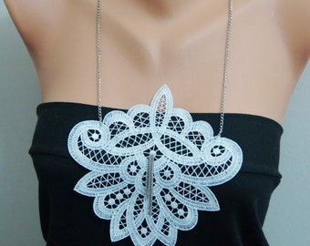 FREE SHIPPING , White statement lace necklace, Gothic, Fashion Designer Jewelry, Minimalist, Nesrin Design