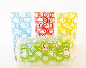 Vintage, Mod Pop, Barware, Glassware, Set of 4 Glasses, 1960,s, Made by Federal Glass. Retro, Red, Green, Yellow, Blue