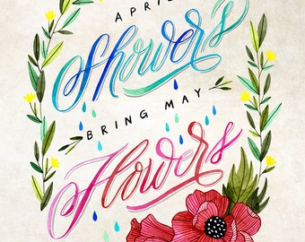 April Showers Bring May Flowers Illustration - Vertical