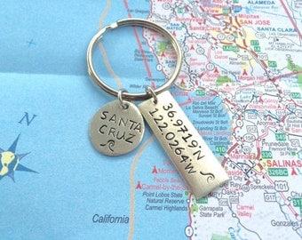 Hand stamped Latitude Longitude Keychain, Santa Cruz, CA