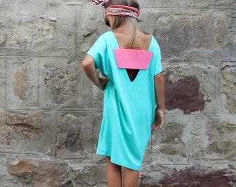 Backless Girls dress, Maxi Girls Dress, Mint Girls Dress,Toddler Dress, Girls Cotton Knit Dress  , Girls party dress , Girls clothing
