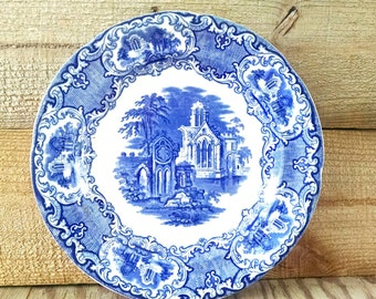 Jones George and Sons Blue and White Transferware Abbey Ironstone Plate 10 Inch Diameter Stroke On Kent England 1896 Antique Victorian Era