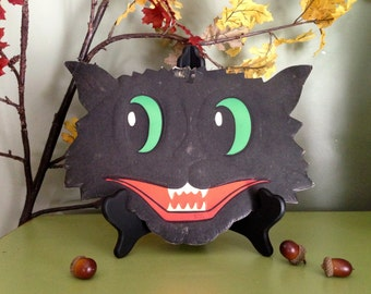 Vintage Halloween Black Cat Grinning Face Beistle Luhrs Halloween Embossed Die Cut 1950s Halloween Display Old Decor Collectible