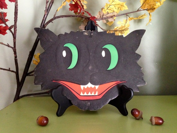 Vintage Halloween Grinning Black Cat Face Luhrs Halloween Embossed Die Cut 1950s Halloween Display Decor Collectible