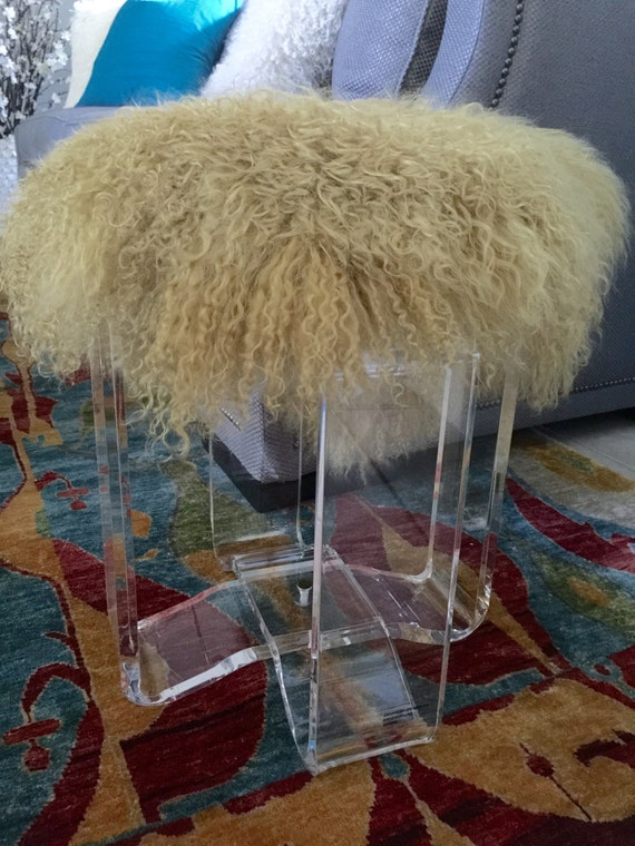 Items similar to Real Natural Mongolian Lamb Fur Up Cycled ACRYLIC Stool Bench Tibet Lamb ...