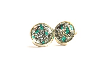 Mint Green and Silver Glitter Specs Glass Stud Earrings 12mm size, Shimmery, girls Gift, Made In Australia, Christmas gift idea