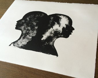 Ready to Frame Lithograph, Gemini, Double Profile, Tusche, black and white, hand pulled