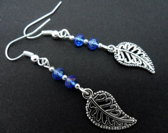 A pair of pretty tibetan silver leaf & blue crystal dangly earrings.