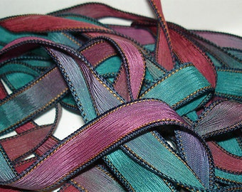 Ship Wrecked 42 inch silk ribbon, Silk wrist wrap ribbons, Hand Dyed Silk, Silk Ribbon,Silk, DIY jewelry Ribbons,By Color Kissed Singles