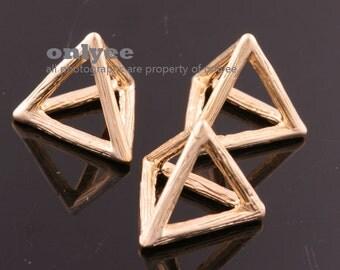 2pcs-15mmX12.5mmX12.5mmMatt Gold plated Brass 3D Stereographic Triangle origami Charms,pendants(K018G)