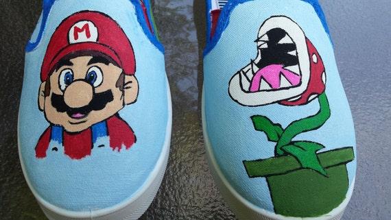 super mario fan art tribute hand painted canvas shoes order