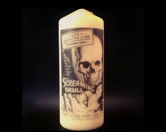 Screaming Skull, Cult Horror Film Poster, Pillar Candle, Ocult Decor, Halloween, Halloween Decor