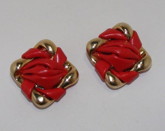 Vintage Gold-tone Red Faux Leather Shoe Clips