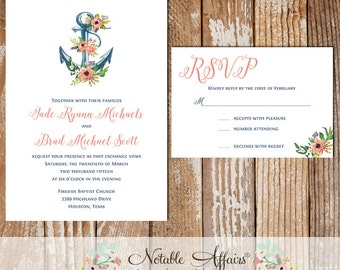 Watercolor Nautical Anchor with Flowers wedding invitation set - choose your own wording - colors CANNOT be changed - Destination wedding