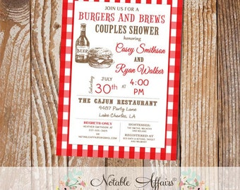 Burgers and Beer on red gingham baby shower couples shower engagement party etc invitation - any event - choose your accent color