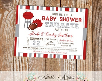 Dark Red and Gray Football Tailgate Baby Shower Invitation - choose your 2 colors - Baby Shower Tailgate Party - Football shower