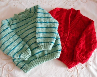2 Babys Hand Knitted Unique Items,1 Jumper,1 Cardigan,18 inch,3-6 Months