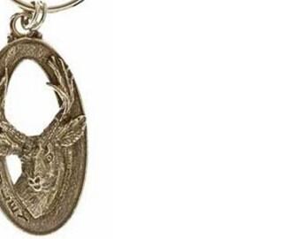 Pewter ~ Mule Deer Front Keychain ~ MK011