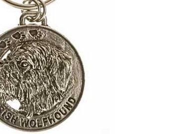 Pewter ~ Irish Wolfhound Keychain ~ DK104